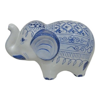 Ceramic Blue and White Elephant Piggy Bank