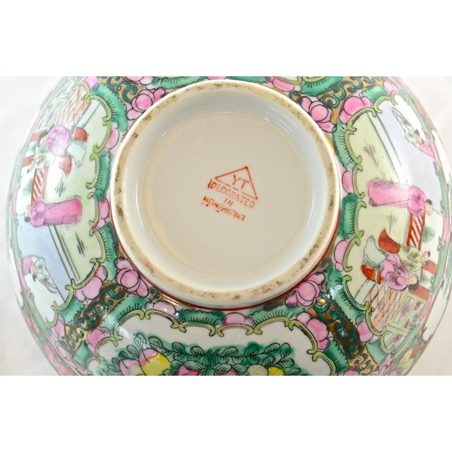 Wood Pink Famille Rose Bowl & Stand For Sale - Image 7 of 9