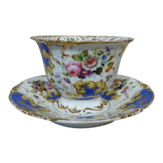 French Antique Large Cup and Saucer in Bone China Fine Porcelain 19th Century For Sale