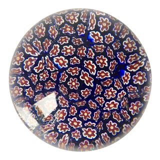 Vintage Murano Hand-Blown Glass 'Millefiori' Paper Weight For Sale