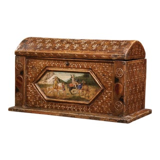 18th Century French Gothic Giltwood and Polychromed Trunk With Fleurs De Lys For Sale