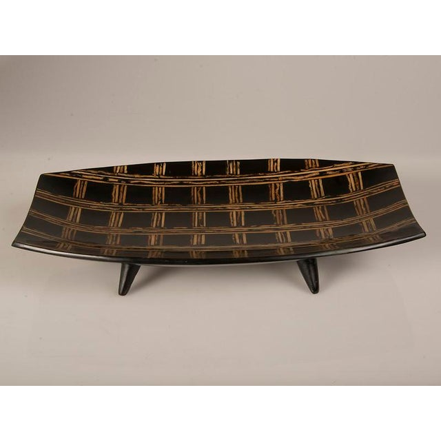 Modern Large Black Lacquer Tray Inlaid with Bamboo, Malaysia.