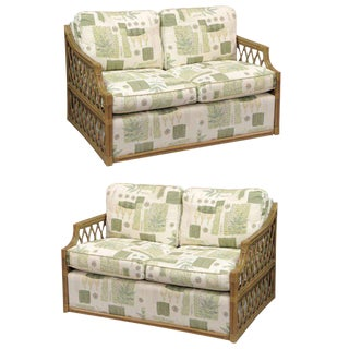 Single Rattan and Upholstered Settees in the Manner of Mcguire For Sale