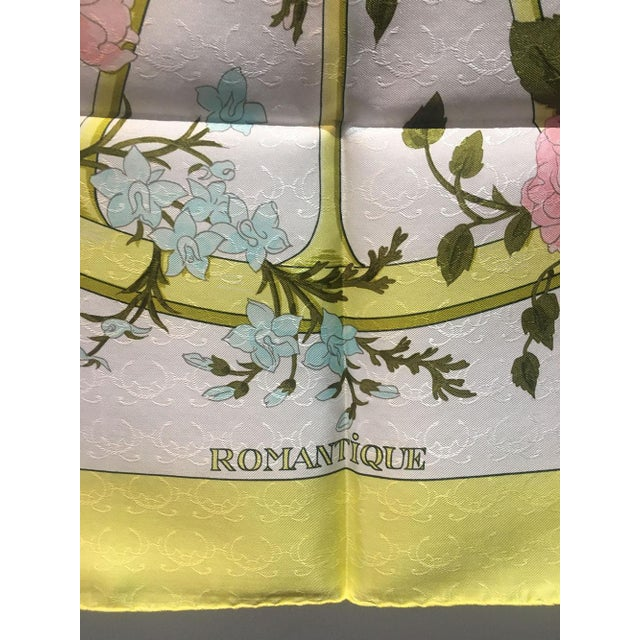 Modern Hermes Vintage Romantique Silk Scarf in Yellow C1970s For Sale - Image 3 of 7