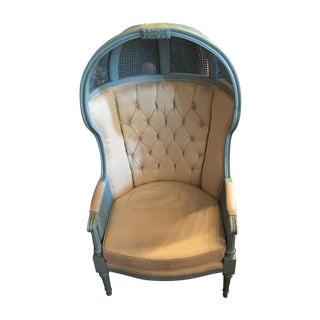 Double Caned French Blue 1950's Porter Chair For Sale