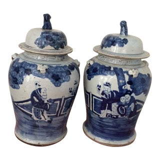 Antique Chinese Blue & White Porcelain Urns - a Pair For Sale