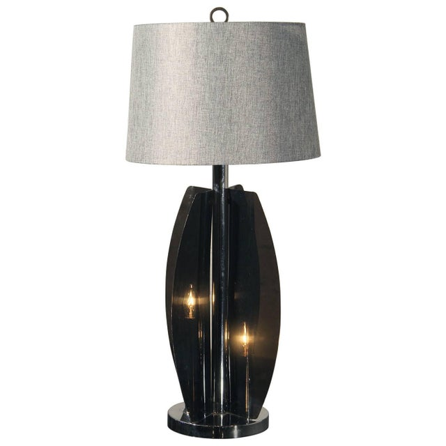 Mid-Century Modern Grey Lucite & Chrome Table Lamp For Sale