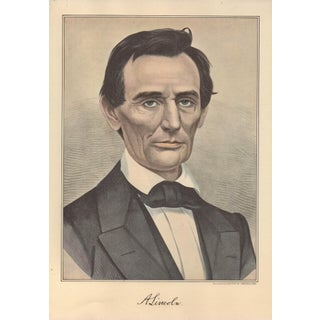 1950s Vintage Currier & Ives Portrait of Abe Lincoln Lithograph Print For Sale