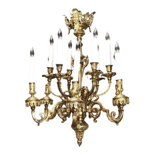 Antique French Louis XIV Bronze Chandelier For Sale