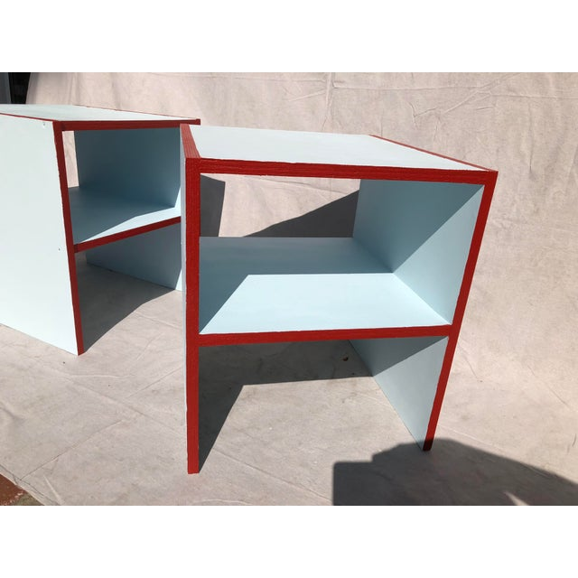 Handmade Sky Blue With Red Painted Night Stands - a Pair For Sale - Image 4 of 5