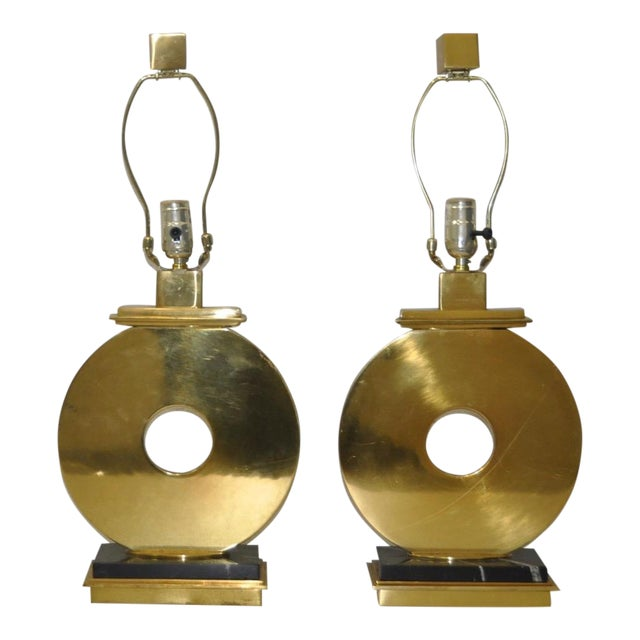 Pair of Robert Abbey Vintage Brass & Marble Table Lamps For Sale