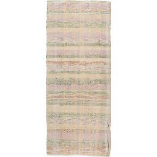 "Vintage Pastel Colors Turkish Flat Weave Rug - 3'3"" X 8'4"""