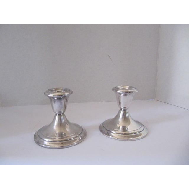 Gorham Vintage Gorham Silver-Plate Candle Holders - 2 Pieces For Sale - Image 4 of 4