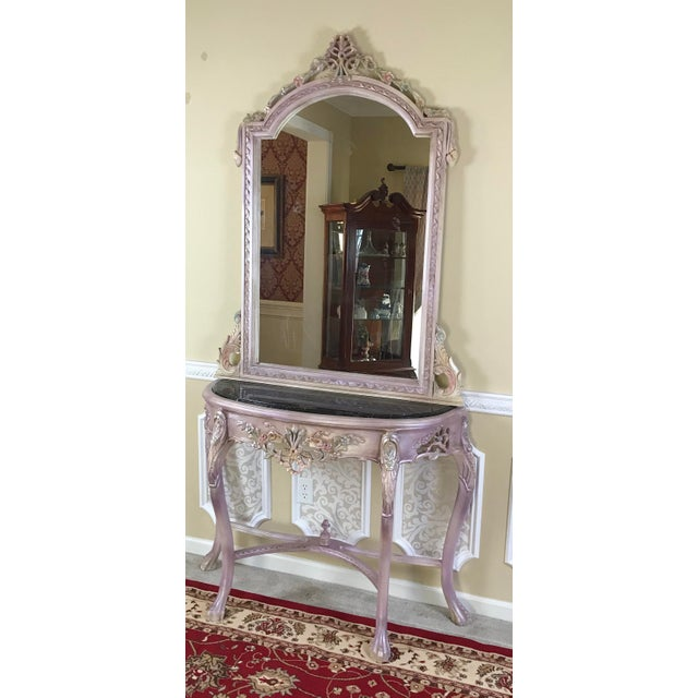 Purple Louis XV Beech Wood Console Table & Mirror For Sale - Image 8 of 8