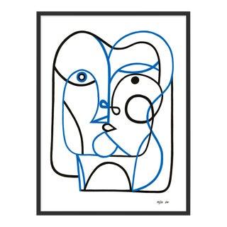 Line Face by Sia Dzhan in Black Frame, Medium Art Print For Sale