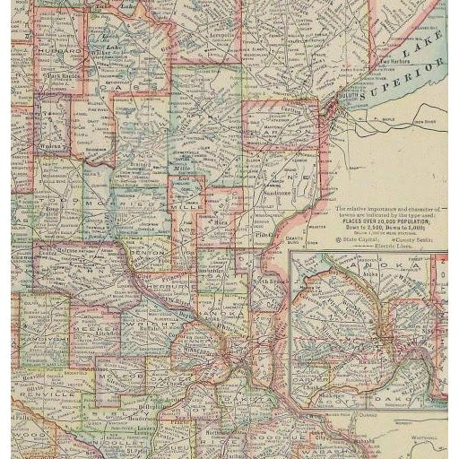 Vintage Map of Minnesota, 1916 - Image 2 of 3