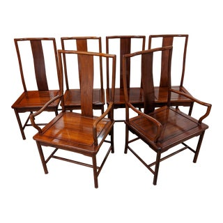 Rosewood Chinoiserie Dining Chairs - Set of 6 For Sale