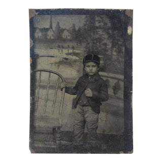 Tintype of Child with Elaborate Painted Backdrop For Sale