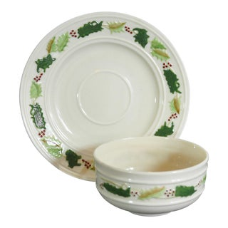 Vintage Belleek Holly Holiday Bowl and Under Plate Hand Painted For Sale