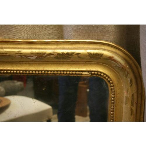 Louis Philippe Gold Leaf Mirror With Vine Detail & Original Glass For Sale - Image 4 of 5
