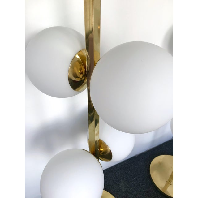 Contemporary Brass Floor Lamps Opaline Ball, Italy For Sale - Image 12 of 13