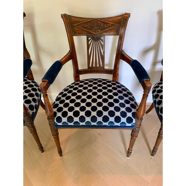 Beautiful set of 4 fabulous French armchairs perfect for game or dining table with wonderful patina. Brand new upholstery...
