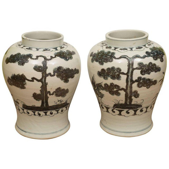 Pair of Black & White Chinese Export Jars - Image 9 of 9