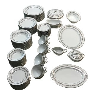 Noritake Gaylord 5526 White China With Silver, Lavender, Gray Dinnerware, 91 Pieces For Sale