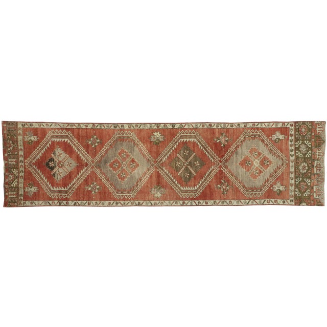 Vintage Turkish Oushak Runner - 3′6″ × 13′1″ For Sale