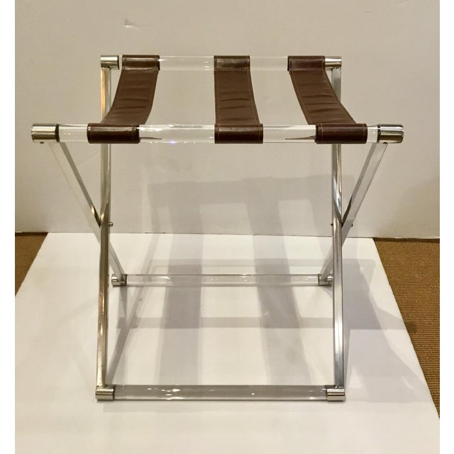 2010s Modern Leather and Lucite Luggage Rack For Sale - Image 5 of 5