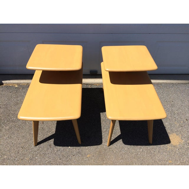 Heywood Wakefield Wheat Finished End Tables- A Pair - Image 6 of 8