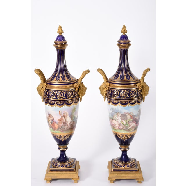 Bronze Early 19th Century Bronze Mounted Porcelain Urns - a Pair For Sale - Image 7 of 13