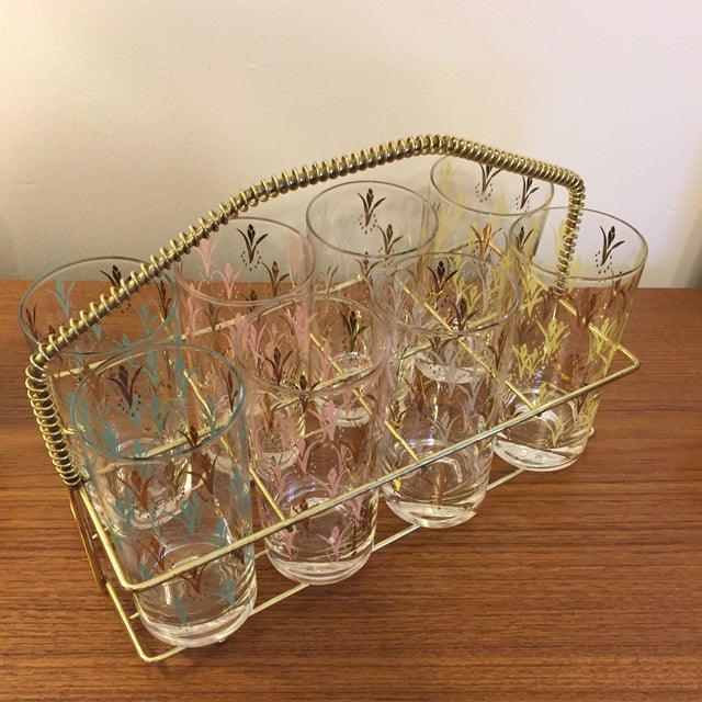 Fred Press Vintage Drink Caddy & Glasses For Sale In Cincinnati - Image 6 of 8