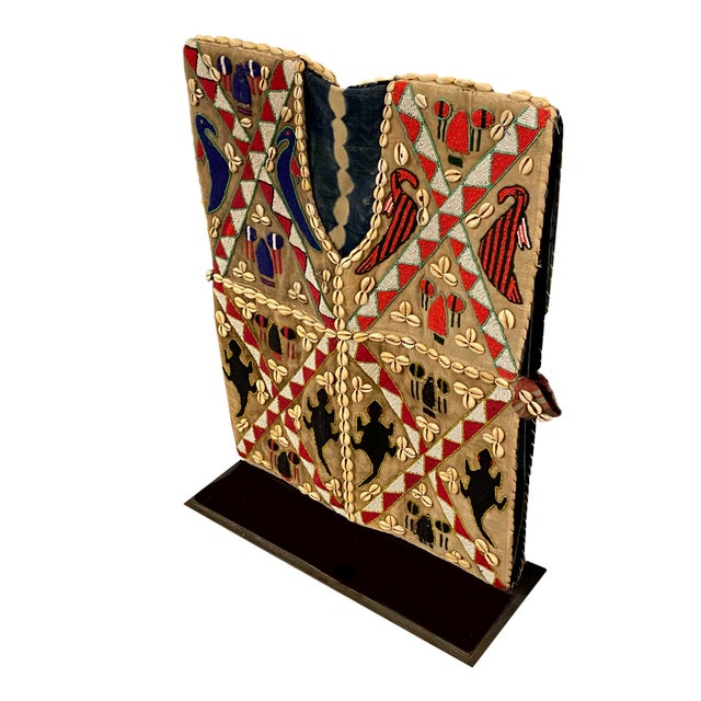 African Mens African Beaded Vest on Iron Stand For Sale - Image 3 of 6