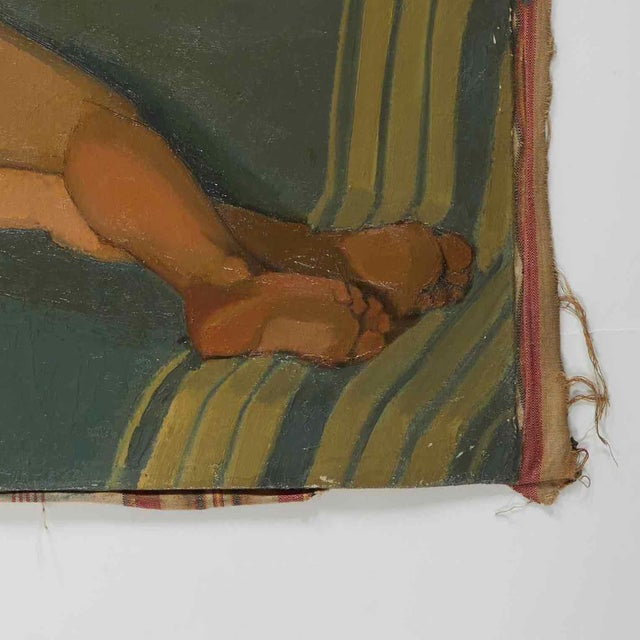 Edwardian Oil Painting of Female Nude Lying on Sofa by Artist B. Buchet For Sale - Image 3 of 5