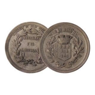 1880 Antique French Du Mans Exposition Award Medal Plaque For Sale