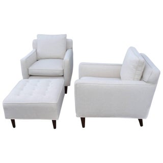 Edward Wormley Dunbar Two Chairs and Ottoman For Sale