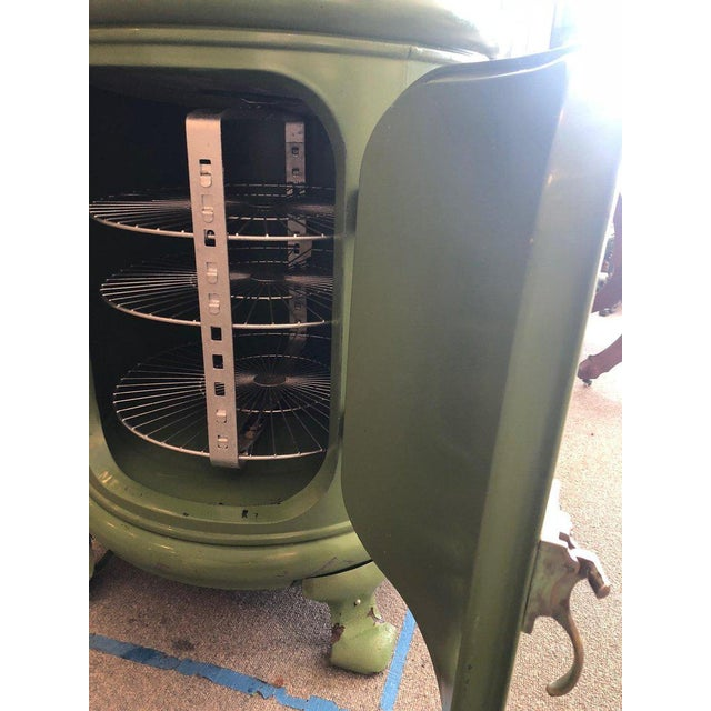 Early Round Steel Ice Box as Unique Bar in Enameled Green For Sale - Image 9 of 13