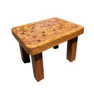 Danish Modern Amerigo Terenzoni Quartersawn Oak Parquet Top Accent Table For Sale