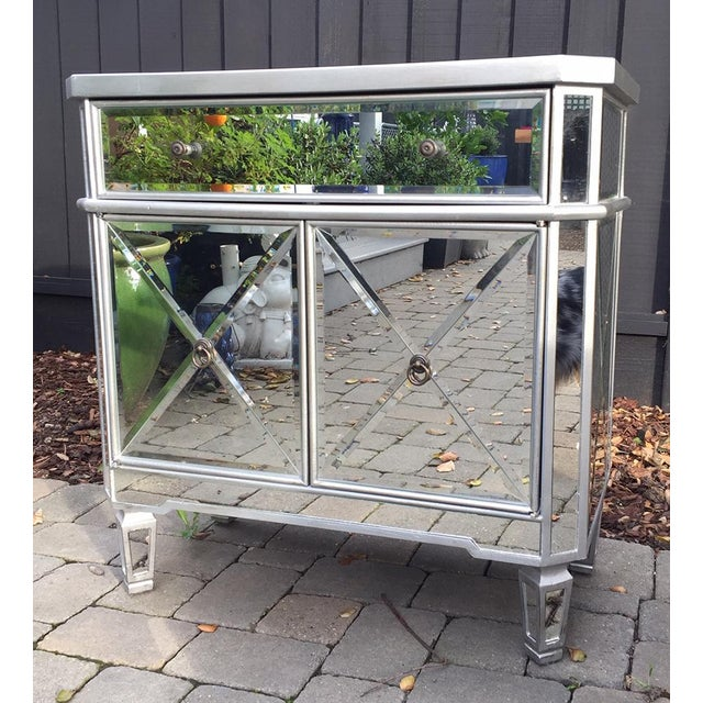 Regency styled mirrored chest that can be used as a nightstand, entry table / chest or small dresser adding a...
