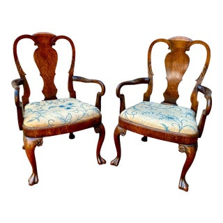 George II Style Walnut Armchairs - a Pair For Sale