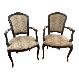 Snakeskin Italian Bergere Chairs With Brass Tacks - Pair For Sale