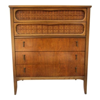 Mid-Century Modern Lane Furniture Tall Dresser With Woven Rattan Panels For Sale