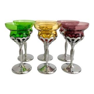 Art Deco Farberware Morgantown Chrome Wine Cordial Cocktail Glasses - Set of 6 For Sale