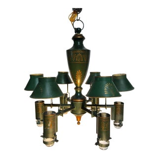 French Green and Gold Tole Chandelier For Sale