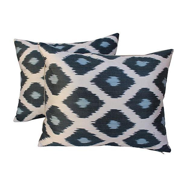 Silk Ikat Mod Pillows - A Pair For Sale