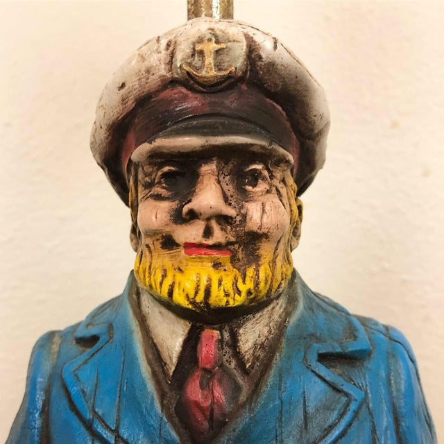 Figurative Carved Wood Look Sea Captain Novelty Lamp For Sale - Image 3 of 6