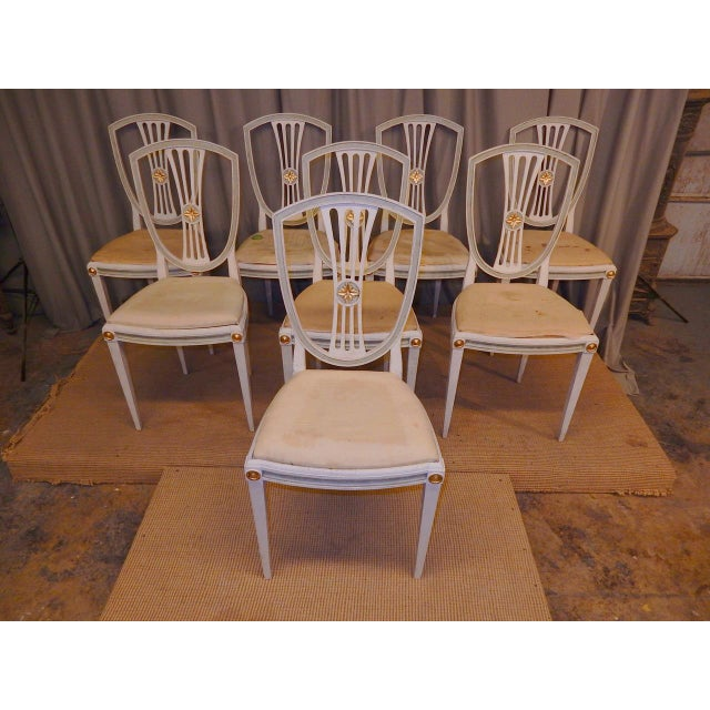Set of 8 shield back painted 19th century Swedish dining chairs. Paint has been refreshed.