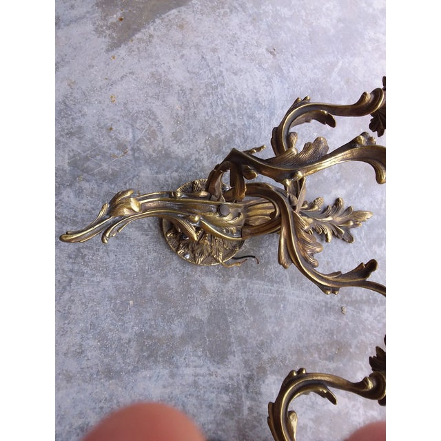 Antique French Bronze Wall Sconces - a Pair For Sale In San Antonio - Image 6 of 8
