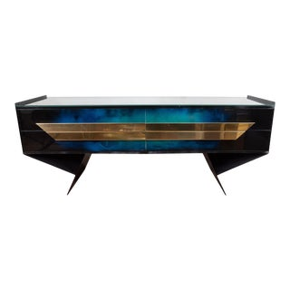 Modern Form Patinated Console For Sale